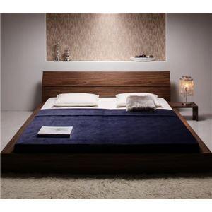 ローベッド キング 【マルチラススーパースプリングマットレス付き】 ウォルナットブラウン モダンデザインローベッド 【The Queen&King Low Bed】 - 拡大画像