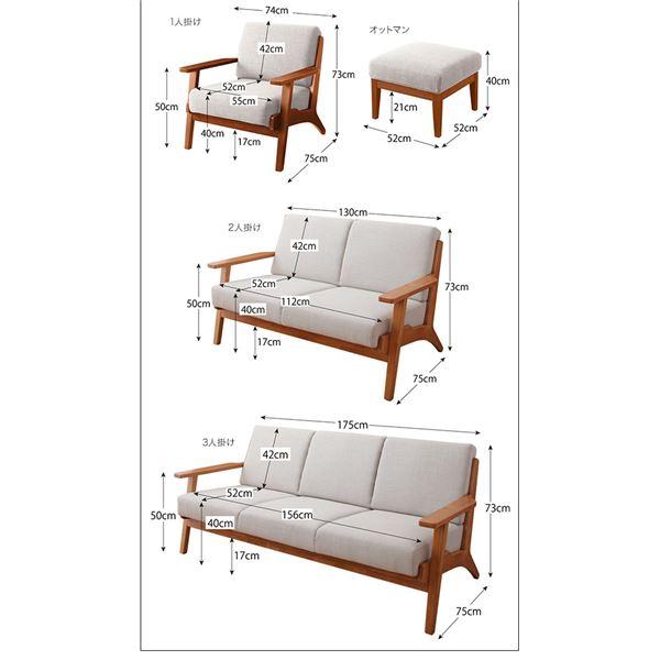 ソファー 3人掛け モスグリーン 北欧デザイン木肘ソファ【Lulea】ルレオのサイズ