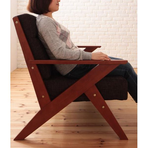 ソファー 3人掛け ブラウン 北欧デザイン木肘ソファ【Rick】リック