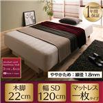 新・国産ポケットコイルマットレスベッド【Waza】ワザ 木脚22cm SD ややかため:線径1.8mm