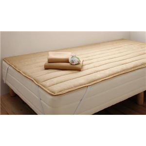 マットレスベッド セミシングル 脚22cm ナチュラルベージュ 新・ショート丈ポケットコイルマットレスベッド