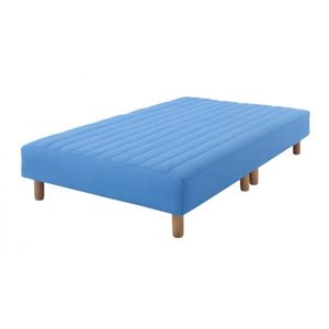 新・色・寝心地が選べる!20色カバーリングポケットコイルマットレスベッド 脚15cm シングル (カラー:アースブルー)  - 拡大画像