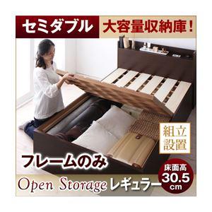 【組立設置費込】 すのこベッド セミダブル【Open Storage】【フレームのみ】 ダークブラウン シンプルデザイン大容量収納庫付きすのこベッド【Open Storage】オープンストレージ・レギュラーの詳細を見る