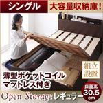 【組立設置費込】 すのこベッド シングル【Open Storage】【薄型ポケットコイルマットレス付き】 ダークブラウン シンプルデザイン大容量収納庫付きすのこベッド【Open Storage】オープンストレージ・レギュラー