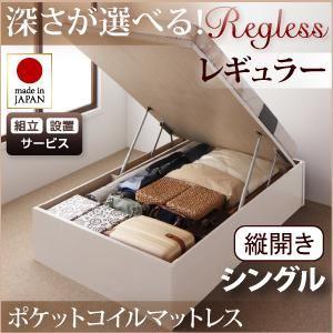 【組立設置費込】 収納ベッド レギュラー シングル【縦開き】【Regless】【オリジナルポケットコイルマットレス付】 ナチュラル 新 開閉タイプ&深さが選べるガス圧式跳ね上げ収納ベッド【Regless】リグレスの詳細を見る
