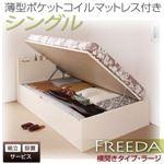 【組立設置費込】 収納ベッド ラージ シングル【横開き】【Freeda】【薄型ポケットコイルマットレス付】 ホワイト 新 開閉タイプが選べるガス圧式跳ね上げ大容量収納ベッド【Freeda】フリーダ