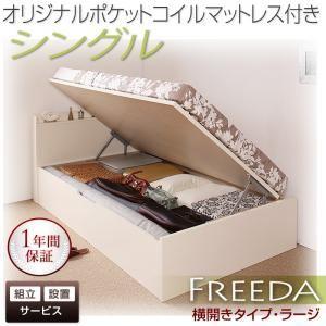 【組立設置費込】 収納ベッド ラージ シングル【横開き】【Freeda】【オリジナルポケットコイルマットレス付】 ホワイト 新 開閉タイプが選べるガス圧式跳ね上げ大容量収納ベッド【Freeda】フリーダの詳細を見る