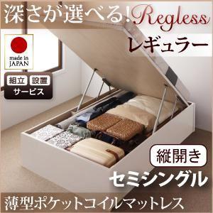 【組立設置費込】収納ベッド レギュラー セミシングル【縦開き】【薄型ポケットコイルマットレス付】【Regless】ナチュラル 開閉タイプ&深さが選べるガス圧式跳ね上げ収納ベッド【Regless】リグレスの詳細を見る