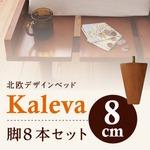 【本体別売】脚8cm ダークブラウン 北欧デザインベッド【Kaleva】カレヴァ専用 別売り 脚