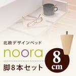 【本体別売】脚8cm ホワイト 北欧デザインベッド【Noora】ノーラ専用 別売り 脚