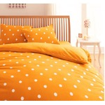 32色柄から選べるスーパーマイクロフリースカバーシリーズ ベッド用3点セット セミダブル ドット オレンジ