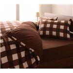 32色柄から選べるスーパーマイクロフリースカバーシリーズ ベッド用3点セット セミダブル チェック ブラウン