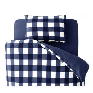 布団カバーセット セミダブル 柄:チェック カラー:ネイビー 32色柄から選べるスーパーマイクロフリースカバーシリーズ ベッド用3点セットの詳細を見る