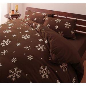 布団カバーセット4点セット【ベッド用】ダブル柄:雪カラー:ブラウン32色柄から選べるスーパーマイクロフリースカバーシリーズ