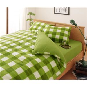 布団カバーセット ダブル 柄:チェック カラー:グリーン 32色柄から選べるスーパーマイクロフリースカバーシリーズ ベッド用3点セットの詳細を見る