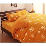 32色柄から選べるスーパーマイクロフリースカバーシリーズ ベッド用3点セット クイーン 雪 オレンジ