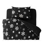 布団カバーセット セミダブル 柄:雪 カラー:ブラック 32色柄から選べるスーパーマイクロフリースカバーシリーズ 和式用3点セット
