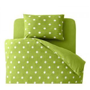 布団カバーセット セミダブル 柄:ドット カラー:グリーン 32色柄から選べるスーパーマイクロフリースカバーシリーズ 和式用3点セット