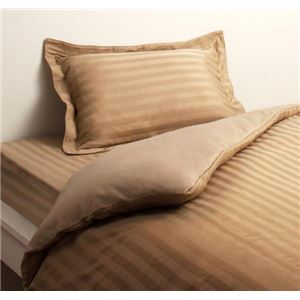 布団カバーセット クイーン サンドベージュ 9色から選べるホテルスタイル ストライプサテンカバーリング ベッド用セットの詳細を見る