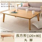 【送料無料】天然木カスタムデザインこたつテーブル【Toluca】 長方形(120×80) ナチュラル 丸脚