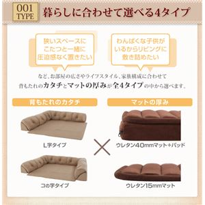 ソファー 40mm厚 ブラウン L字タイプ 小 こたつに合わせるフロアコーナーソファ