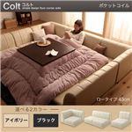 フロアコーナーソファ【COLT】コルト(ロータイプ) _ポケットコイル仕様 (カラー:ブラック)