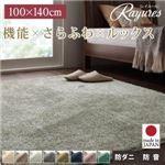 さらふわ国産ミックスシャギーラグ【rayures】レイユール 100×140cm (カラー:グリーンブルー)