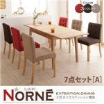 ダイニングセット 7点セットA(チェア6脚)【Norne】3色ミックス 天然木エクステンション機能ダイニングシリーズ【Norne】ノルネ