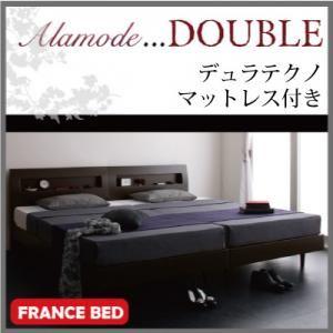 すのこベッド ダブル【Alamode】【デュラテクノマットレス付き】 ホワイト 棚・コンセント付きデザインすのこベッド【Alamode】アラモード - 拡大画像