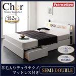 収納ベッド セミダブル【Cher】【羊毛入りデュラテクノマットレス付き】 ホワイト モダンライト・コンセント収納付きベッド【Cher】シェール