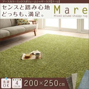 アースカラーミックスボリュームシャギーラグ【Mare】マーレ 200×250cm (色:ブルー)  - 拡大画像