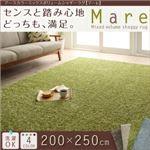 アースカラーミックスボリュームシャギーラグ【Mare】マーレ 200×250cm (色:ブルー)