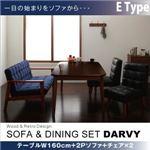ダイニングセット 4点セット【DARVY】Eタイプ(テーブル幅160cm+2人掛けソファ+チェア×2) バイキャストブラック ソファ&ダイニングセット【DARVY】ダーヴィ