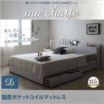 収納ベッド ダブル【ma chatte】【国産ポケットコイルマットレス付き】 ホワイト 棚・コンセント付き収納ベッド【ma chatte】マシェット