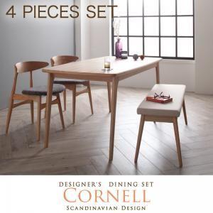 ダイニングセット 4点セット(テーブル+チェアA×2+ベンチ)【Cornell】チェアカラー:アイボリー ベンチカラー:ベージュ 北欧デザイナーズダイニングセット【Cornell】コーネル/4点セット(テーブル+チェアA×2+ベンチ) - 拡大画像