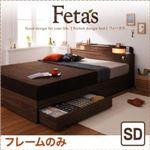 収納ベッド セミダブル【Fetas】【フレームのみ】 ブラック 照明・コンセント付き収納ベッド 【Fetas】フィータス