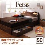 収納ベッド セミダブル【Fetas】【国産ポケットコイルマットレス付き】 ウォルナットブラウン 照明・コンセント付き収納ベッド 【Fetas】フィータス
