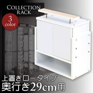 コレクションラック レギュラー奥行き29cm用 上置きロータイプ (カラー:ホワイト)