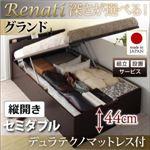 【組立設置費込】収納ベッド セミダブル・グランド【縦開き】【Renati】【デュラテクノマットレス付】ホワイト 国産跳ね上げ収納ベッド【Renati】レナーチ