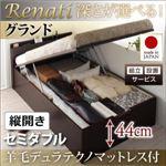 【組立設置費込】収納ベッド セミダブル・グランド【縦開き】【Renati】【羊毛デュラテクノマットレス付】ホワイト 国産跳ね上げ収納ベッド【Renati】レナーチ