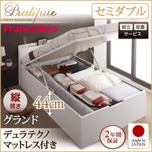 【組立設置費込】収納ベッド セミダブル・グランド【縦開き】【Pratipue】【デュラテクノマットレス付】ナチュラル 国産跳ね上げ収納ベッド【Pratipue】プラティークの詳細を見る