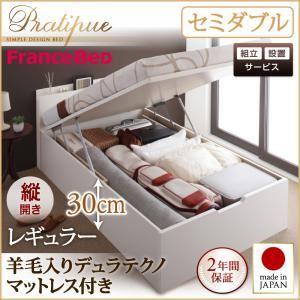 【組立設置費込】収納ベッド セミダブル・レギュラー【縦開き】【Pratipue】【羊毛デュラテクノマットレス付】ホワイト 国産跳ね上げ収納ベッド【Pratipue】プラティークの詳細を見る