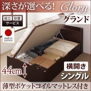 【組立設置費込】収納ベッド シングル・グランド【横開き】【Clory】【薄型ポケットコイルマットレス付】ダークブラウン 国産跳ね上げ収納ベッド【Clory】クローリーの詳細を見る