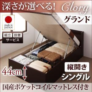 【組立設置費込】収納ベッド シングル・グランド【縦開き】【Clory】【国産ポケットコイルマットレス付】ダークブラウン 国産跳ね上げ収納ベッド【Clory】クローリーの詳細を見る