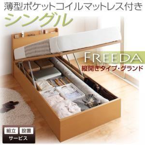 【組立設置費込】収納ベッド シングル・グランド【縦開き】【Freeda】【薄型ポケットコイルマットレス付】ダークブラウン 国産跳ね上げ収納ベッド【Freeda】フリーダの詳細を見る