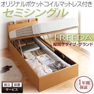 【組立設置費込】収納ベッド セミシングル・グランド【縦開き】【Freeda】【オリジナルポケットコイルマットレス付】ナチュラル 国産跳ね上げ収納ベッド【Freeda】フリーダの詳細を見る