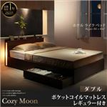 収納ベッド ダブル【Cozy Moon】【ポケットコイルマットレス(レギュラー)付き】フレームカラー:ブラック マットレスカラー:アイボリー スリムモダンライト付き収納ベッド【Cozy Moon】コージームーン