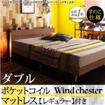 ベッド ダブル【Wind Chester】【ポケットコイルマットレス:レギュラー付き】フレームカラー:ブラック マットレスカラー:ブラック スリムモダンライト付きデザインベッド【Wind Chester】ウィンドチェスターすのこ仕様