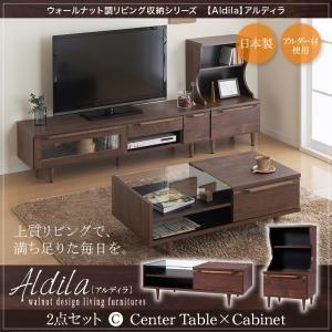 2点セット/センターテーブル×キャビネット ウォールナット調リビング収納シリーズ【Aldila】アルディラ
