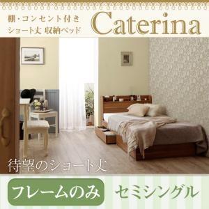収納ベッド セミシングル【Caterina】【フレームのみ】ウォルナットブラウン ショート丈 棚・コンセント付き収納ベッド【Caterina】カテリーナ - 拡大画像